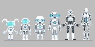 Van de de technologiescience fiction van de robot androïde innovatie toekomstige vlakke het ontwerppictogrammen geplaatst vectori stock illustratie