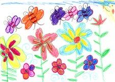 Van de tekeningsbijen en bloemen van het kind aard Royalty-vrije Stock Foto's