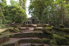 Van de tempelangkor van Preahkahn het Archeologische Park, Kambodja Stock Afbeeldingen