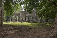 Van de tempelangkor van Preahkahn het Archeologische Park, Kambodja Stock Afbeelding