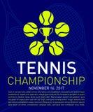 Van de tennisembleem en tekst Samenstelling voor sportevenement reclame Stock Foto's