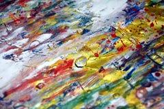 Van de de textuurverf van de verfwaterverf zilveren oranje donkere rozerode purpere gouden blauwe witte de waterverfvlekken Stock Foto's