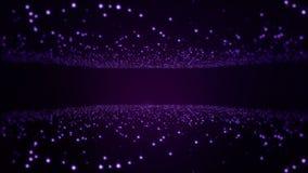 Van de titelstechno van de deeltjes de purpere abstracte lichte motie achtergrond van de de animatielijn stock footage