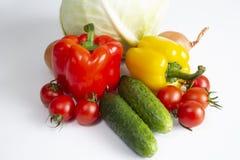 Van de de tomatenkool van de groenten Bulgaars peper de komkommersuien en knoflook op een witte achtergrond royalty-vrije stock foto