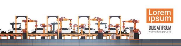 Van de de Transportband Automatisch Lopende band van de autoproductie van de de Machines Industrieel Automatisering de Industriec vector illustratie