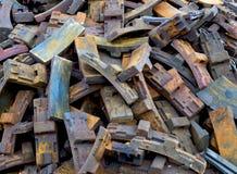 Van de treinremmen en schroot recycling stock fotografie