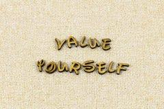 Van de de trotsliefde van het waarde zelf zelfrespect het type van het vertrouwensletterzetsel stock foto