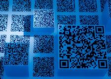 Van de twee-afmeting code blauwe wetenschap en technologie behangachtergrond royalty-vrije stock foto's