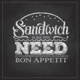 Van de de typografiesandwich van de krijttekening het menuontwerp Het van letters voorzien affiche Allen u wenst is sandwich royalty-vrije illustratie