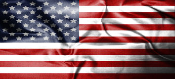 Van de V.S., Amerika, Verenigde het land van het vlagsymbool nationale patriottische textiel als achtergrond Stock Fotografie