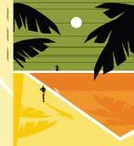 Van de de Vakantieillustratie van de affichekaart het paar van de de zondag bij de pool stock illustratie