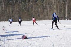 Van de de vakantiesneeuw van de skiwinter de skiërzon en pret royalty-vrije stock foto's