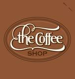 Van de ?van de Koffie Winkel? de hand het van letters voorzien (vector) Stock Afbeeldingen