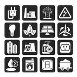 Van de van de silhouetmacht, energie en elektriciteit pictogrammen Royalty-vrije Stock Afbeelding
