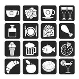 Van de van de silhouetvoedsel, Drank en drank pictogrammen Stock Afbeelding
