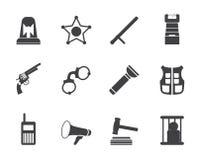 Van de van de van de silhouetwet, orde, politie en misdaad pictogrammen Stock Foto's