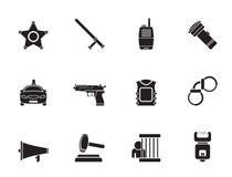 Van de van de van de silhouetwet, orde, politie en misdaad pictogrammen Royalty-vrije Stock Fotografie