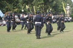 Van de Veiligheidsambtenaren van de oefeningseenheid de Politiehoofdkwartier die Surakarta inbouwen Royalty-vrije Stock Afbeelding
