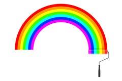 Van de verfrol en Regenboog Kleurenslagen het 3d teruggeven vector illustratie