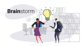 Van de de vergaderingsbrainstorming van het bedrijfsman vrouwenpaar het team die van het het proceszakenlui nieuwe creatieve inno vector illustratie