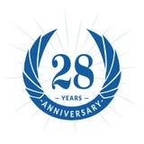 28 van de verjaardagsjaar ontwerpsjabloon Het elegante ontwerp van het verjaardagsembleem Achtentwintig jaar embleem stock illustratie
