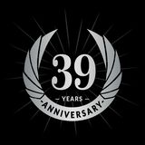 39 van de verjaardagsjaar ontwerpsjabloon Het elegante ontwerp van het verjaardagsembleem Negenendertig jaar embleem vector illustratie