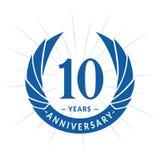 10 van de verjaardagsjaar ontwerpsjabloon Het elegante ontwerp van het verjaardagsembleem Tien jaar embleem stock illustratie