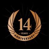 14 van de verjaardagsjaar ontwerpsjabloon Het elegante ontwerp van het verjaardagsembleem Veertien jaar embleem stock illustratie