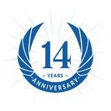 14 van de verjaardagsjaar ontwerpsjabloon Het elegante ontwerp van het verjaardagsembleem Veertien jaar embleem royalty-vrije illustratie