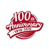 100 van de verjaardagsjaar ontwerpsjabloon Vector en illustratie 100ste embleem vector illustratie