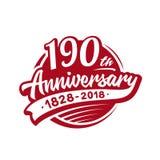 190 van de verjaardagsjaar ontwerpsjabloon Vector en illustratie 190ste embleem stock illustratie