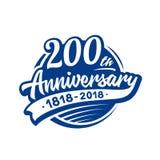 200 van de verjaardagsjaar ontwerpsjabloon Vector en illustratie 200ste embleem vector illustratie