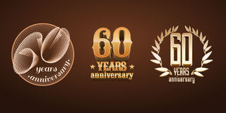60 van de verjaardagsjaar reeks van vectorembleem, pictogram, aantal Royalty-vrije Stock Foto