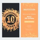 10 van de verjaardagsjaar uitnodiging aan de vectorillustratie van de vieringsgebeurtenis Royalty-vrije Stock Foto's