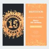 15 van de verjaardagsjaar uitnodiging aan de vectorillustratie van de vieringsgebeurtenis Royalty-vrije Stock Fotografie