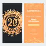 20 van de verjaardagsjaar uitnodiging aan de vectorillustratie van de vieringsgebeurtenis Stock Afbeelding