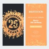 25 van de verjaardagsjaar uitnodiging aan de vectorillustratie van de vieringsgebeurtenis Stock Afbeeldingen