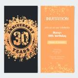 30 van de verjaardagsjaar uitnodiging aan de vectorillustratie van de vieringsgebeurtenis Stock Afbeeldingen