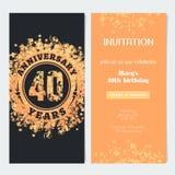 40 van de verjaardagsjaar uitnodiging aan de vectorillustratie van de vieringsgebeurtenis Stock Fotografie