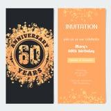 60 van de verjaardagsjaar uitnodiging aan de vectorillustratie van de vieringsgebeurtenis Royalty-vrije Stock Afbeeldingen