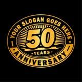 50 van de verjaardagsjaar viering het 50ste ontwerp van het verjaardagsembleem Vijftig jaar embleem royalty-vrije illustratie