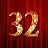 32 van de verjaardagsjaar viering logotype Stock Afbeeldingen