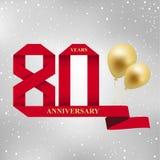 80 van de verjaardagsjaar viering logotype het rode lint van de de 80ste jarenverjaardag en gouden ballon op grijze achtergrond vector illustratie