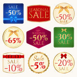 Van de verkoop de banner (coupon of markering) malplaatje met boog (rib Stock Foto