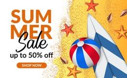 Van de de verkoopaanbieding van de de zomervakantie van de de kortingsaffiche de bannermalplaatje met de illustratie van het stra vector illustratie