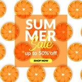 Van de de verkoopaanbieding van de de zomervakantie van de de kortingsaffiche de bannermalplaatje met illustratie van plakcitroen stock illustratie