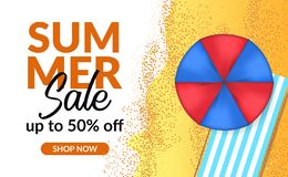 Van de de verkoopaanbieding van de de zomervakantie van de de kortingsaffiche de bannermalplaatje met palmbladen vector illustratie