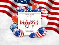 Van de de verkoopbanner van de veteranendag het malplaatjeontwerp Vector Royalty-vrije Stock Afbeeldingen