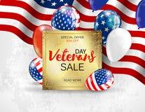 Van de de verkoopbanner van de veteranendag het malplaatjeontwerp Vector Stock Foto's