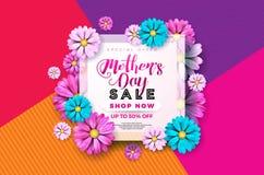 Van de de Verkoopgroet van de moedersdag de kaartontwerp met bloem en typografische elementen op abstracte achtergrond Vectorvier